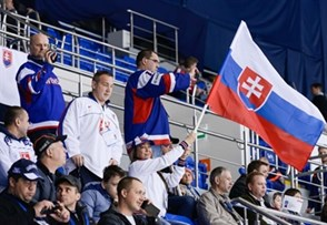 SOCHI, RUSSIA - APRIL 21: Slovakian fans arrived to the arena to support their team during preliminary round action at the 2013 IIHF Ice Hockey U18 World Championship. (Photo by Matthew Murnaghan/HHOF-IIHF Images)