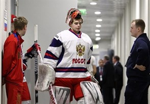 SOCHI, RUSSIA - APRIL 28: Russia's Igor Shestyorkin #1 heads to the ice for warm up prior to bronze medal game action against Finland at the 2013 IIHF Ice Hockey U18 World Championship. (Photo by Francois Laplante/HHOF-IIHF Images)